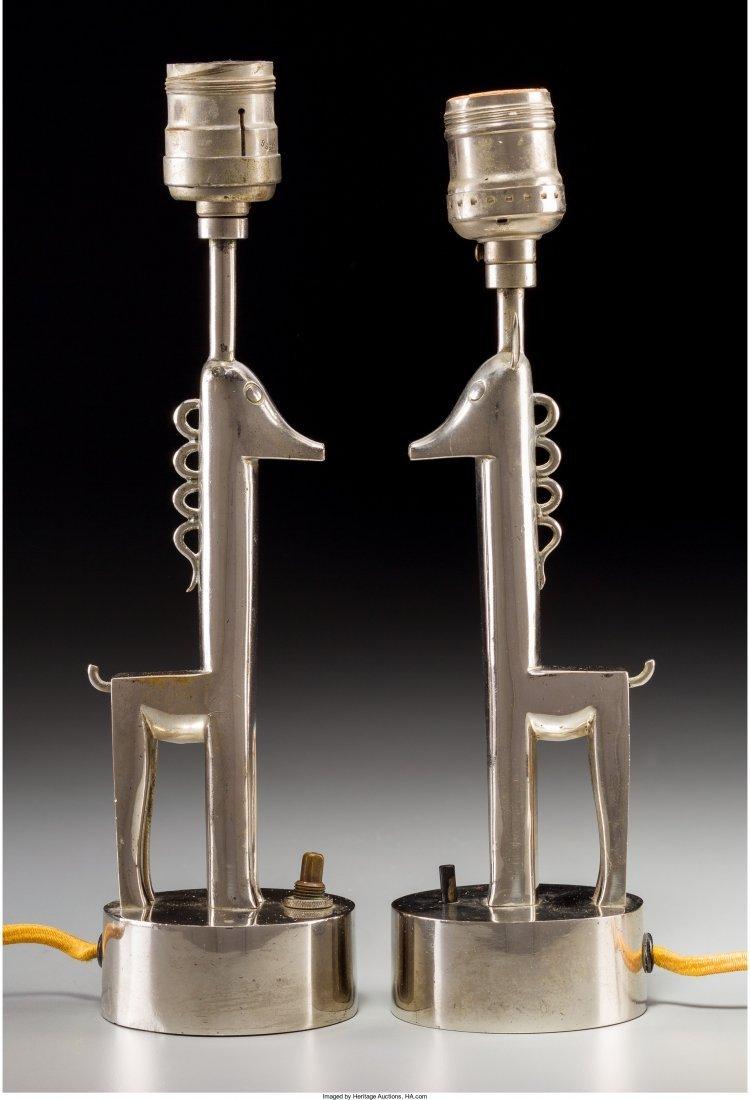 63110: Pair of Karl Hagenauer Chrome Giraffe Table Lamp