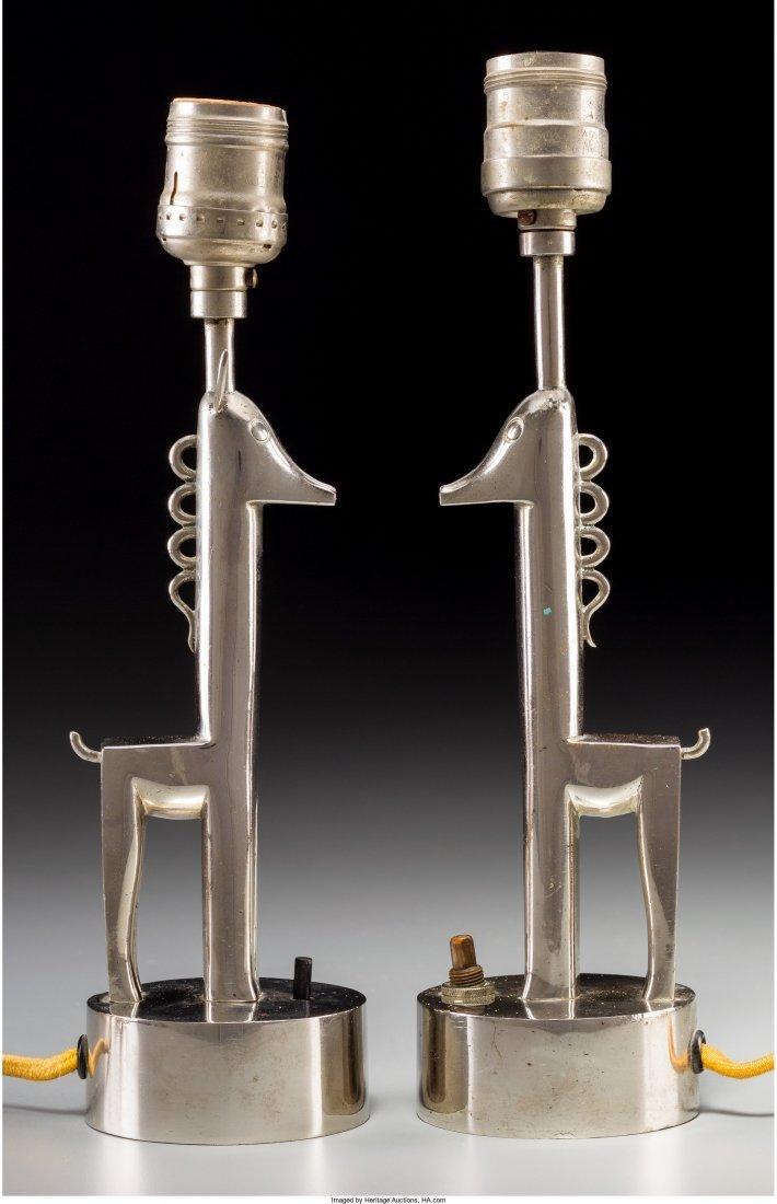 63110: Pair of Karl Hagenauer Chrome Giraffe Table Lamp - 2
