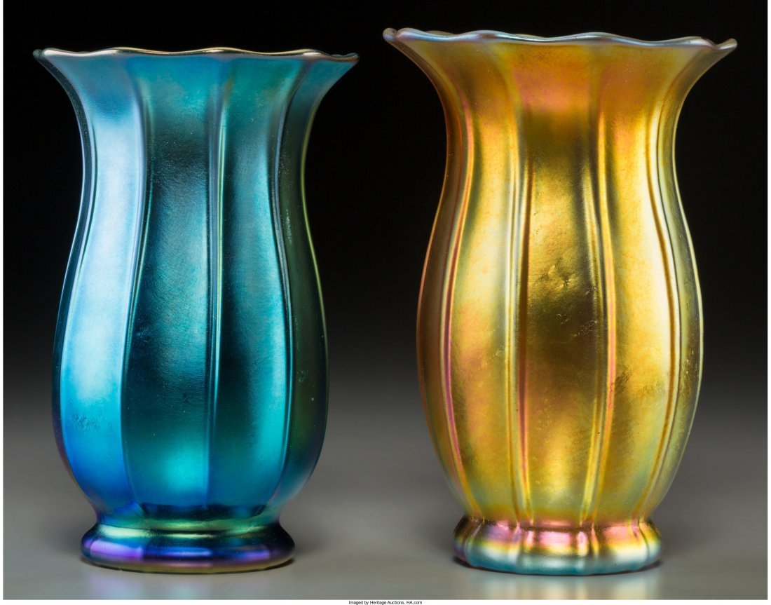 63030: Two Steuben Blue and Gold Aurene Glass Floriform
