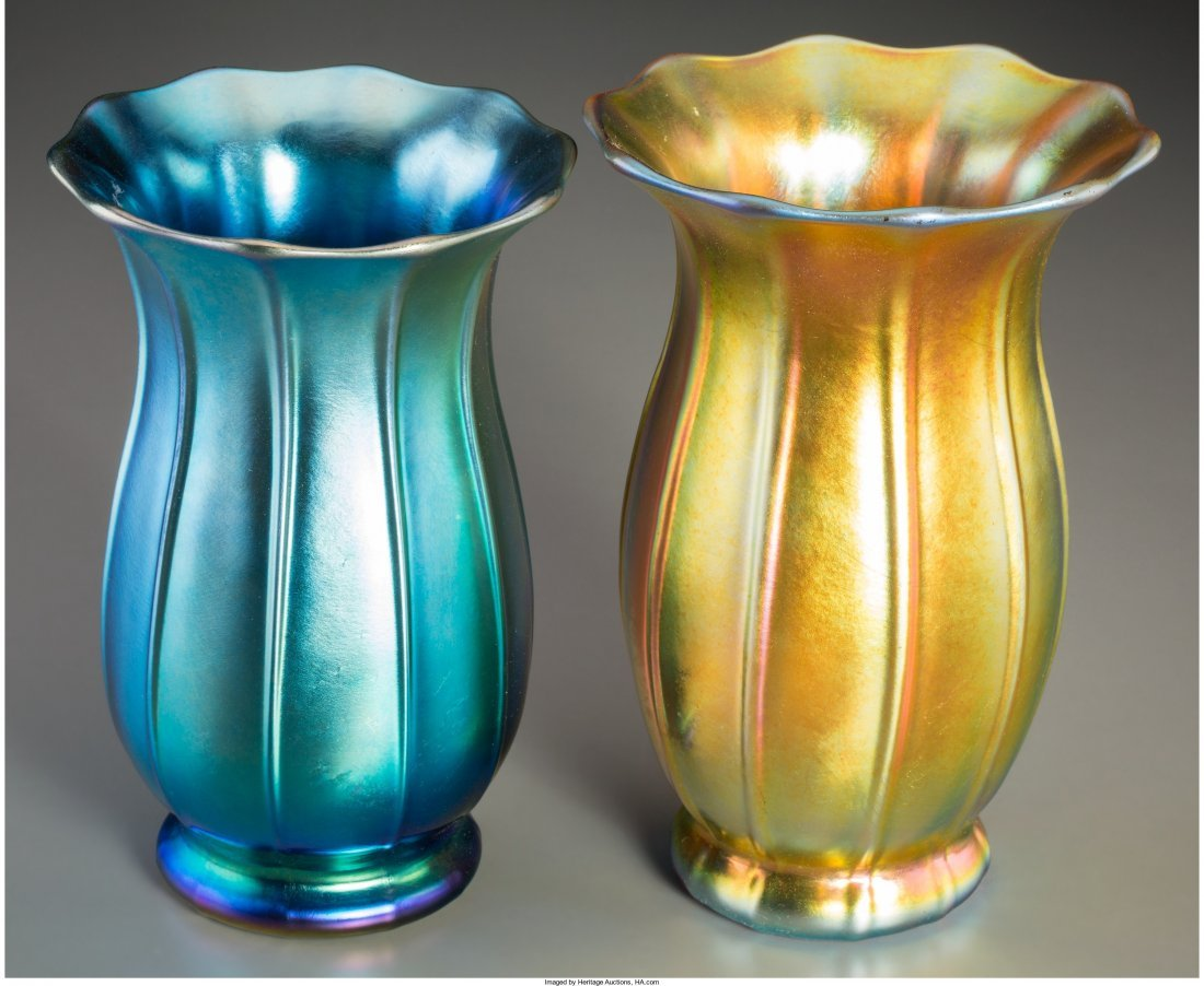 63030: Two Steuben Blue and Gold Aurene Glass Floriform - 2