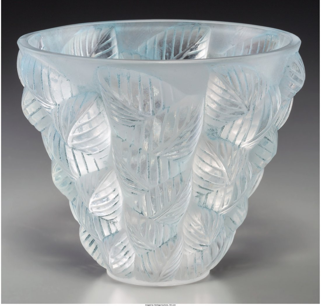 63182: R. Lalique Clear and Frosted Glass Moissac Vase