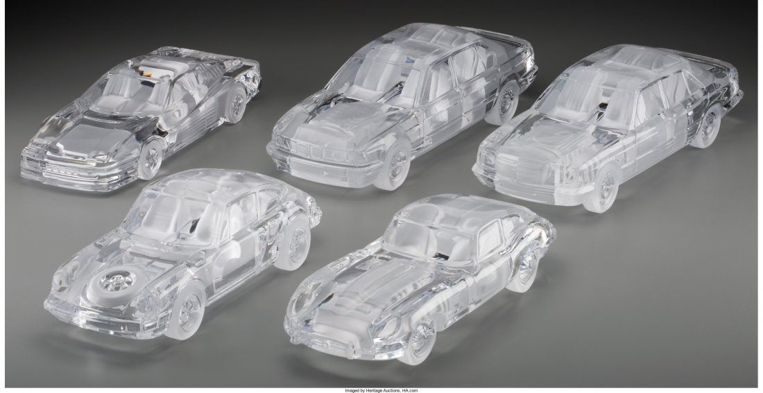 63306: Five Daum Clear and Frosted Glass Cars Late 20th