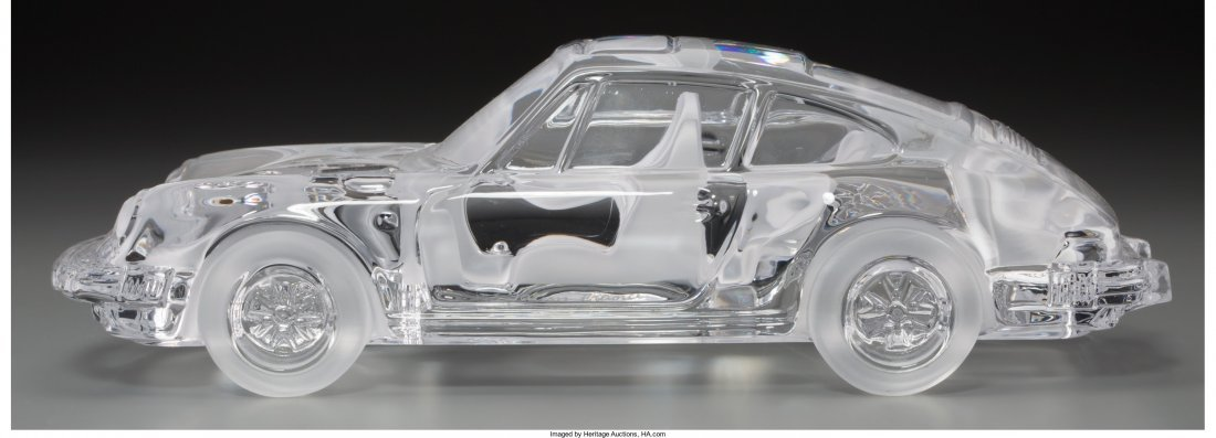 63306: Five Daum Clear and Frosted Glass Cars Late 20th - 2