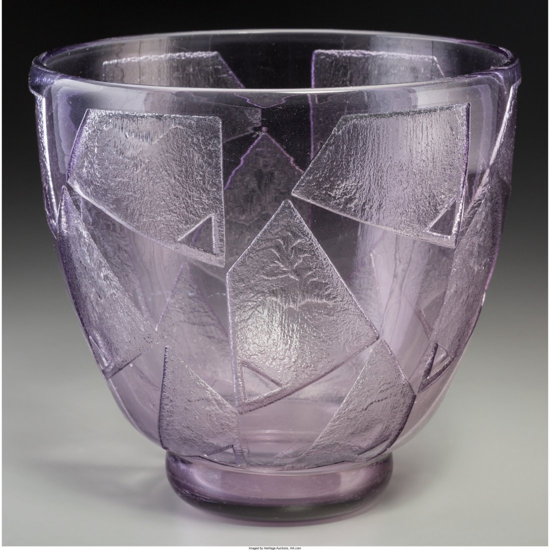 63035: Daum Art Deco Amethyst Acid-Etched Glass Vase Ci - 2