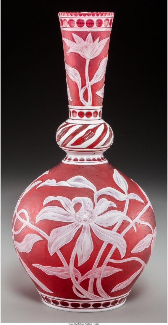 63121: A Stevens & Williams Red Cameo Glass Vase carved