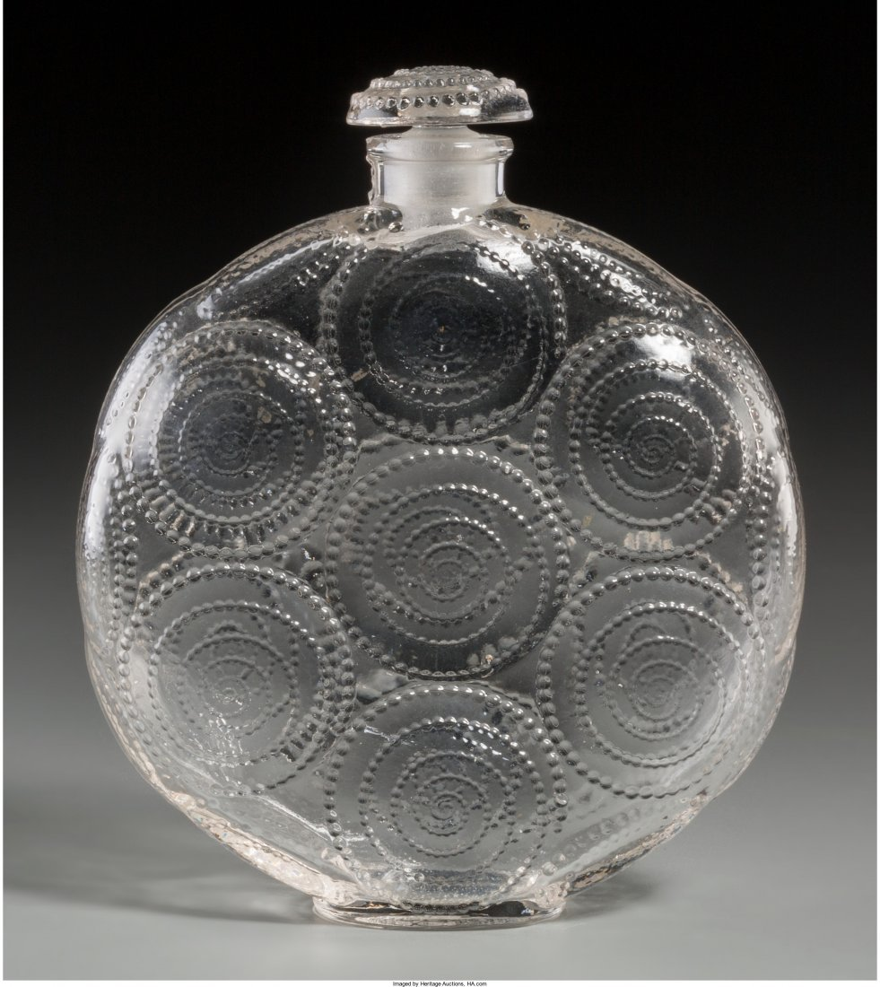 63124: R. Lalique Clear Glass Relief Perfume Bottle for