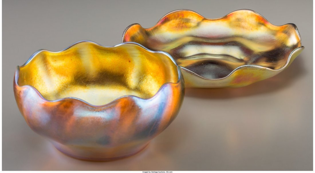 63318: Tiffany Studios Gold Favrile Glass Bowl and Unde - 2