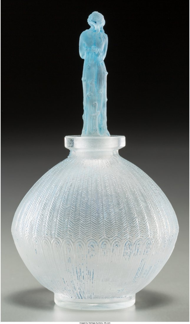 63136: R. Lalique Clear and Frosted Glass Roses Perfume - 2