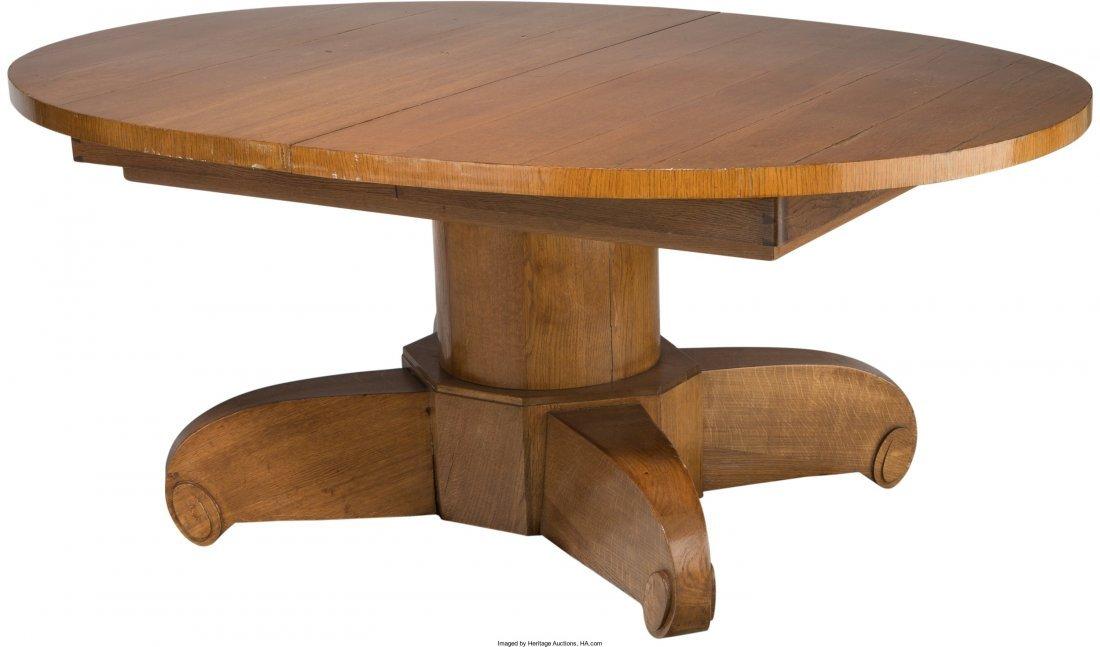 63206: Emile-Jacques Ruhlmann Art Deco Carved Oak Oval  - 2