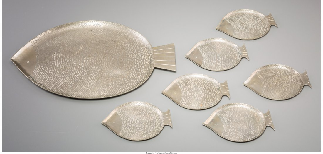 63400: Seven-Piece Hagenauer Silvered Brass Fish Appeti
