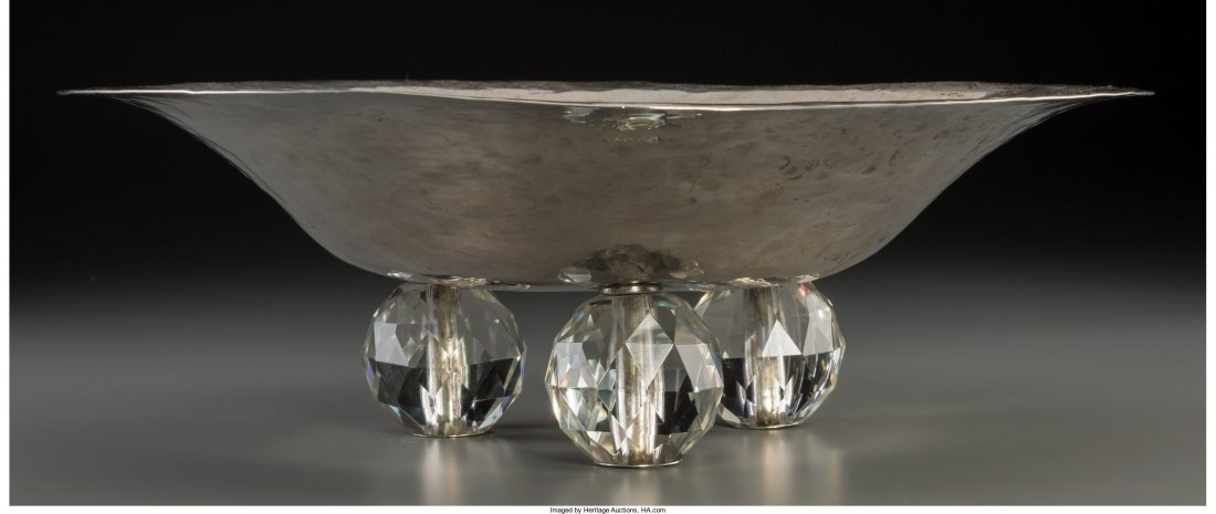 63361: Austrian Silver and Glass Footed Bowl, Vienna, p