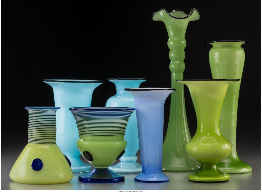 63405: Eight Tango-Style Art Glass Vases 20th century.