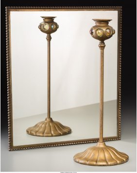 George Wood Tiffany Studios-Style Candlestick an