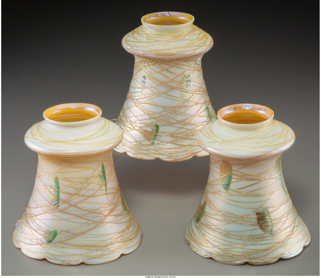 63336: Three Quezal Iridescent and Threaded Glass Shade - 2
