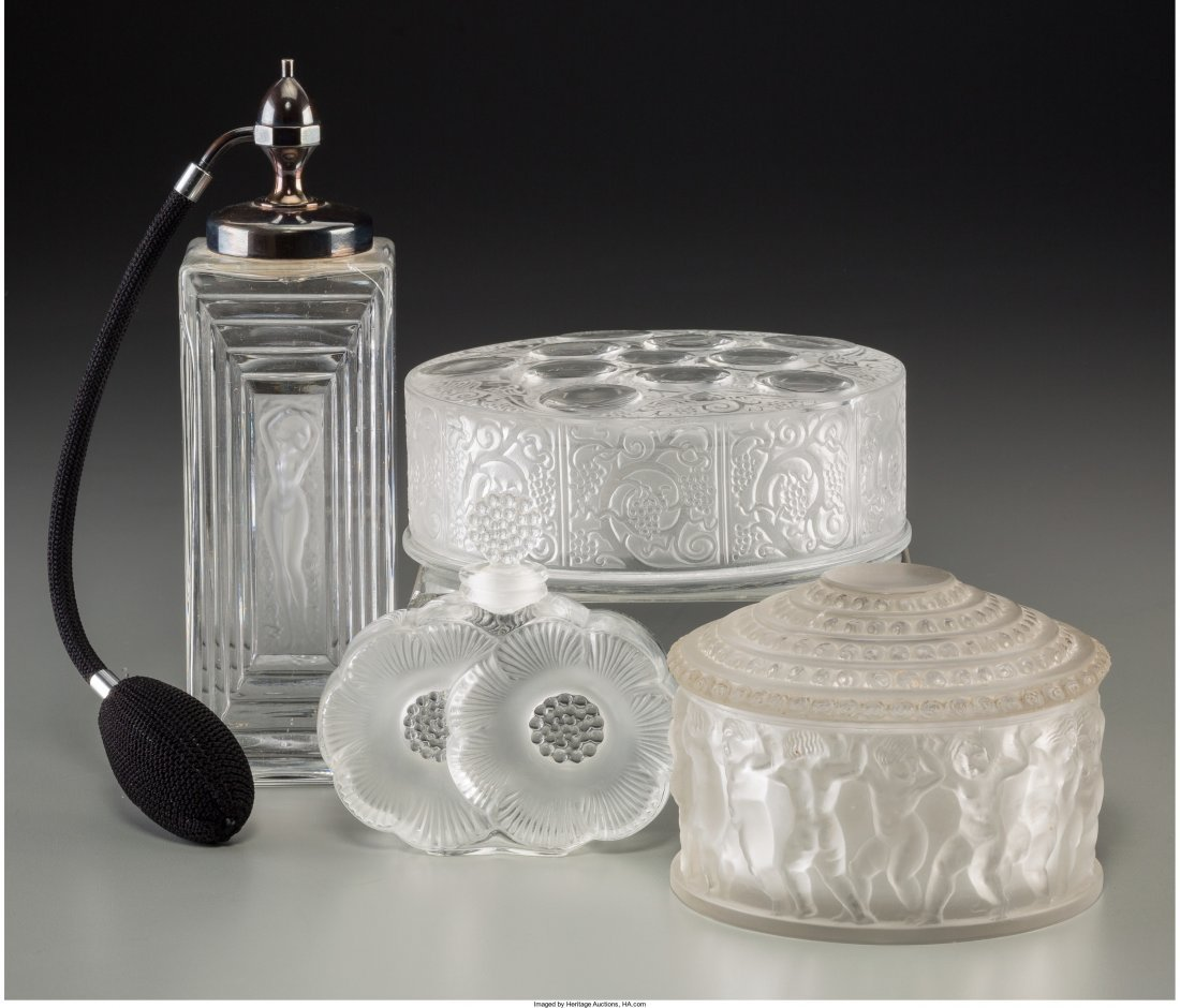 63413: Four Lalique Clear and Frosted Glass Vanity Item - 2