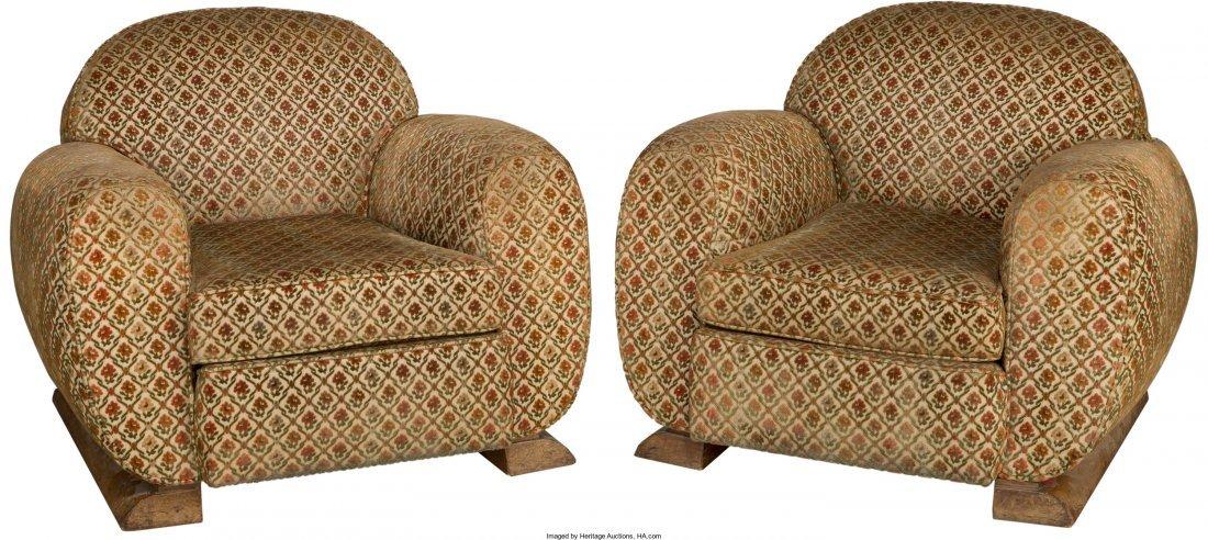 63373: A Pair of Art Deco Upholstered Oak Armchairs Fir