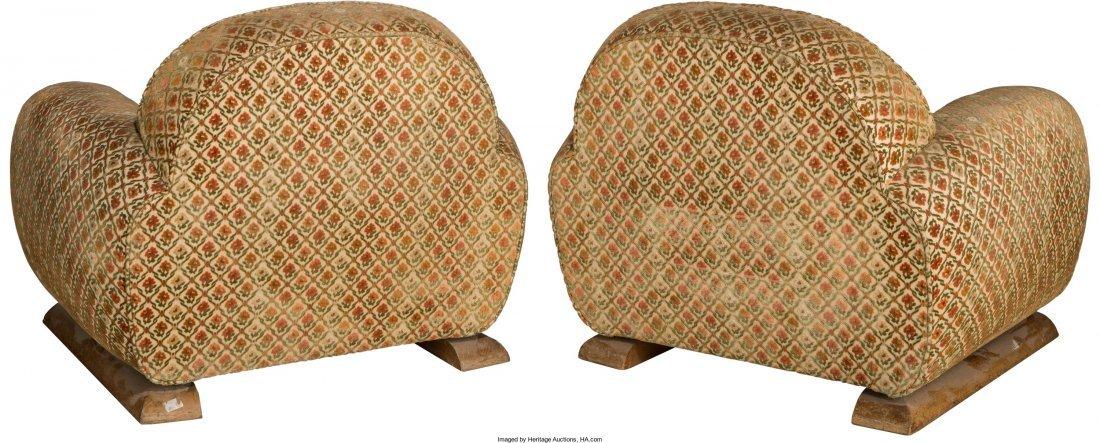 63373: A Pair of Art Deco Upholstered Oak Armchairs Fir - 2