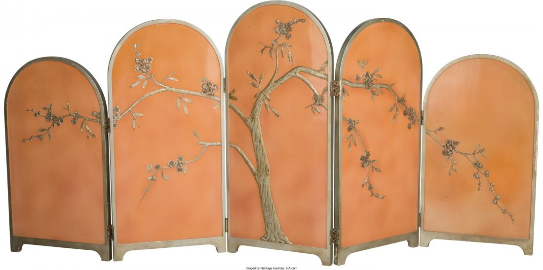 63374: Art Deco Chinoiserie Painted Wood Folding Screen