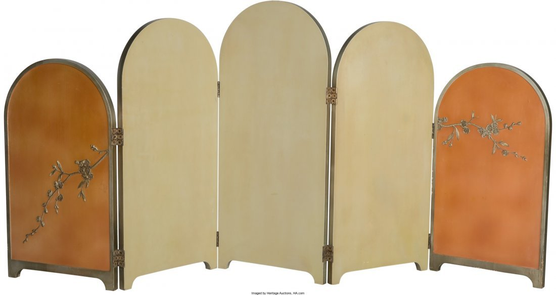 63374: Art Deco Chinoiserie Painted Wood Folding Screen - 2