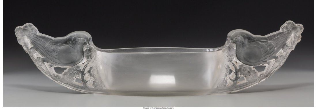 63421: R. Lalique Clear and Frosted Glass Mesanges Jard