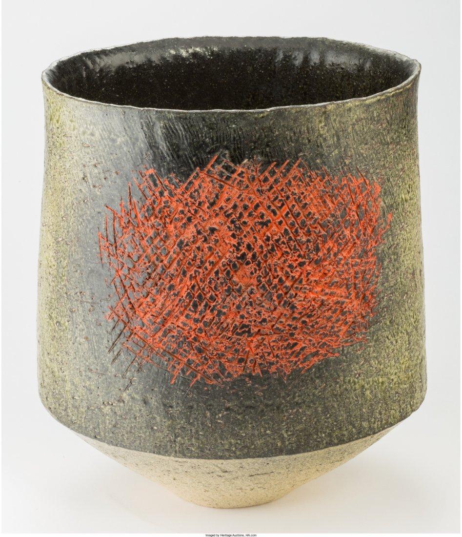63442: Japanese Glazed Earthenware Vase Circa 1960. Imp
