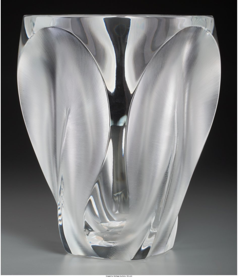 63434: Lalique Clear and Frosted Glass Ingrid Vase Post