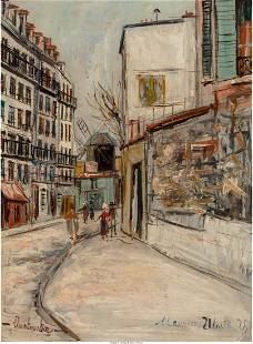 66064: Maurice Utrillo (French, 1883-1955) Rue Lepic Ã