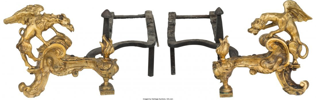61004: A Pair of Louis XV-Style Gilt Bronze and Iron Fi