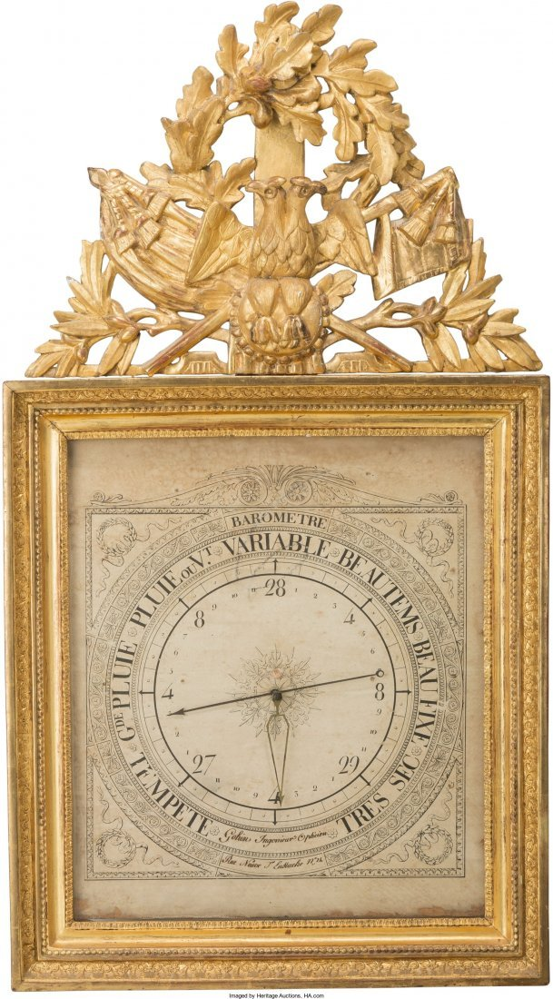 61005: A Louis XVI Carved and Giltwood Barometer, late