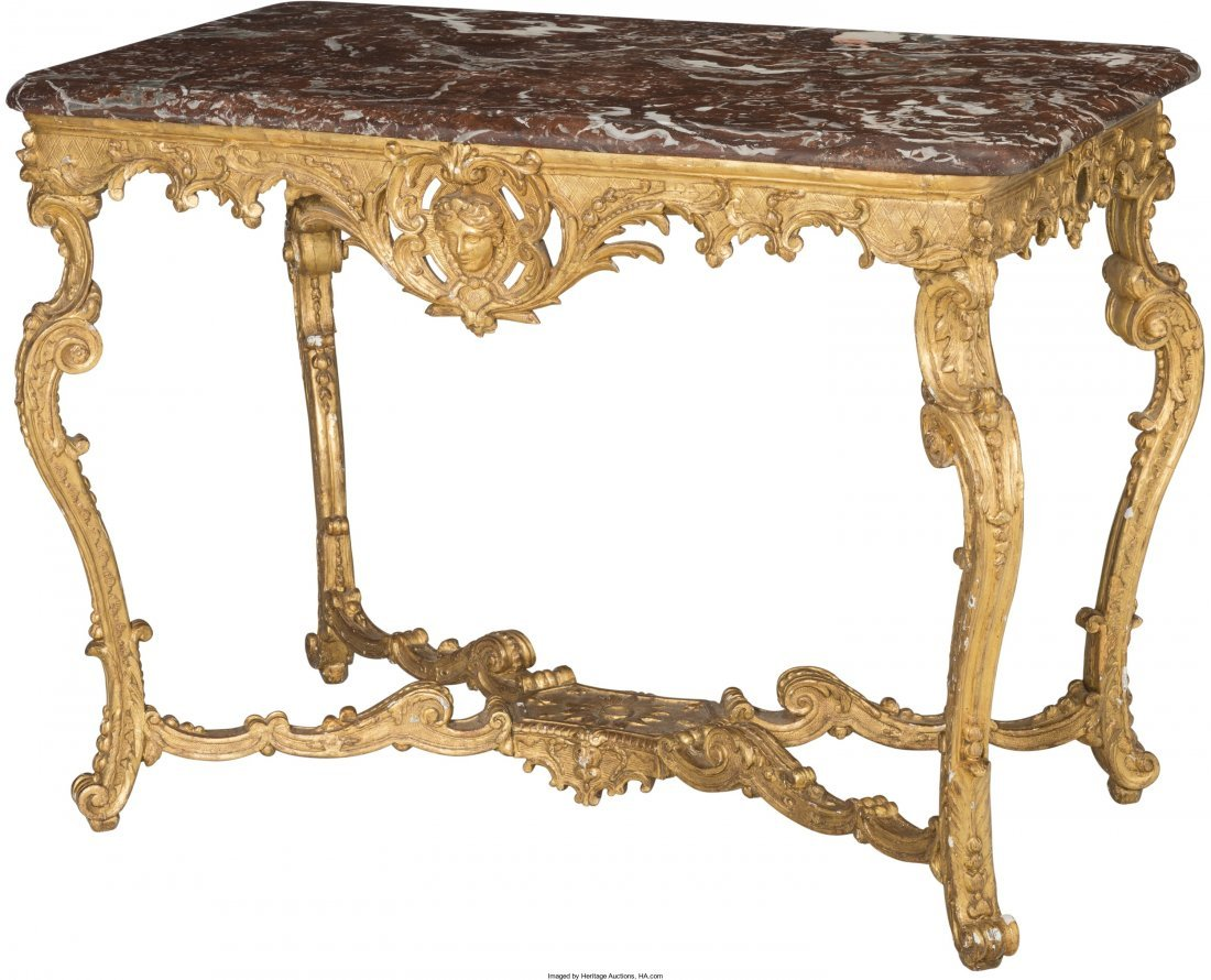 61006: A French Régence Carved Giltwood Salon Table wi