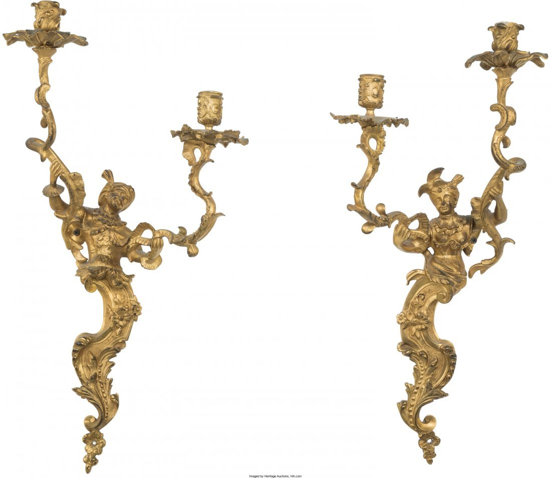 61007: A Pair of Louis XV-Style Gilt Bronze Two-Light F