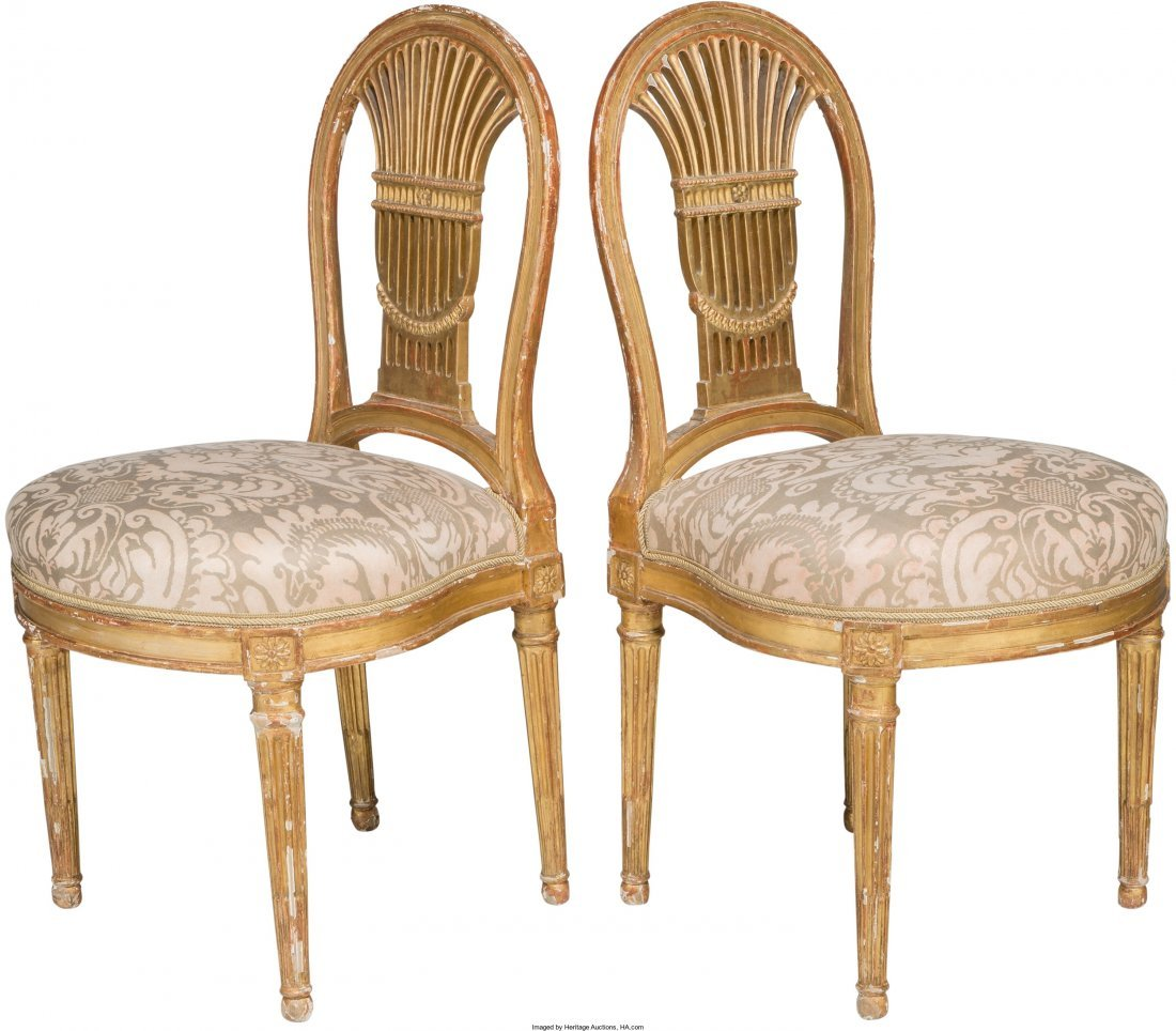 61011: A Pair of Louis XVI Giltwood Montgolfier-Back Ch