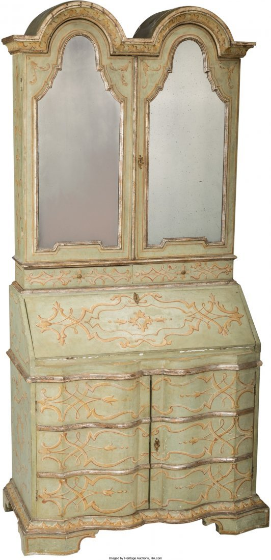 61012: An Italian Rococo-Style Painted Secretary Bookca