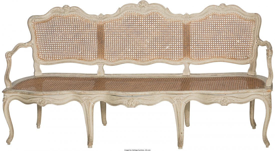 61013: A Louis XV-Style Gris Peinte and Caned Settee 38