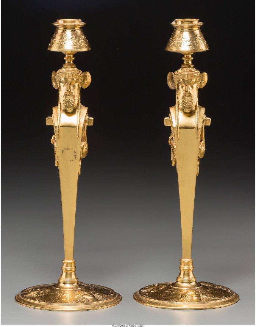 61016: A Pair of Charles X-Style Gilt Bronze Caryatid