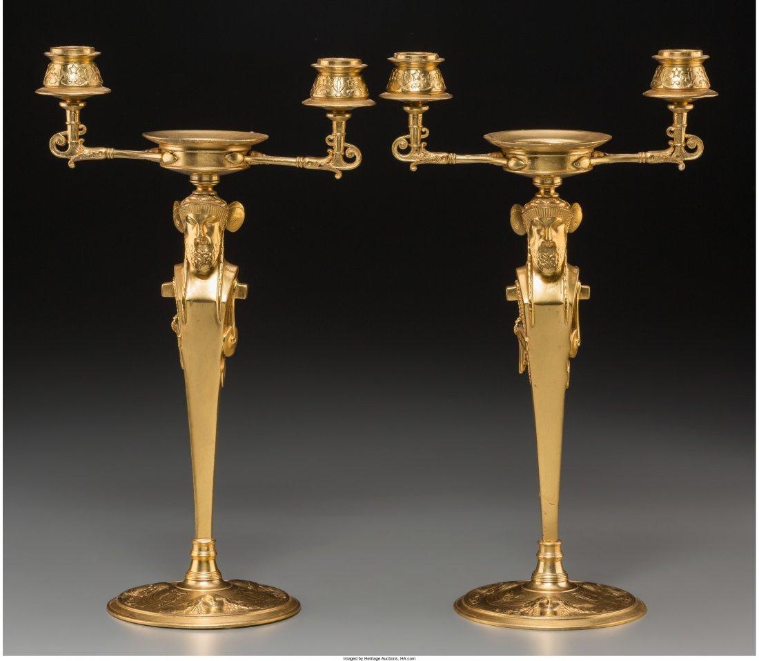 61017: A Pair of Charles X Gilt Bronze Two-Light Caryat