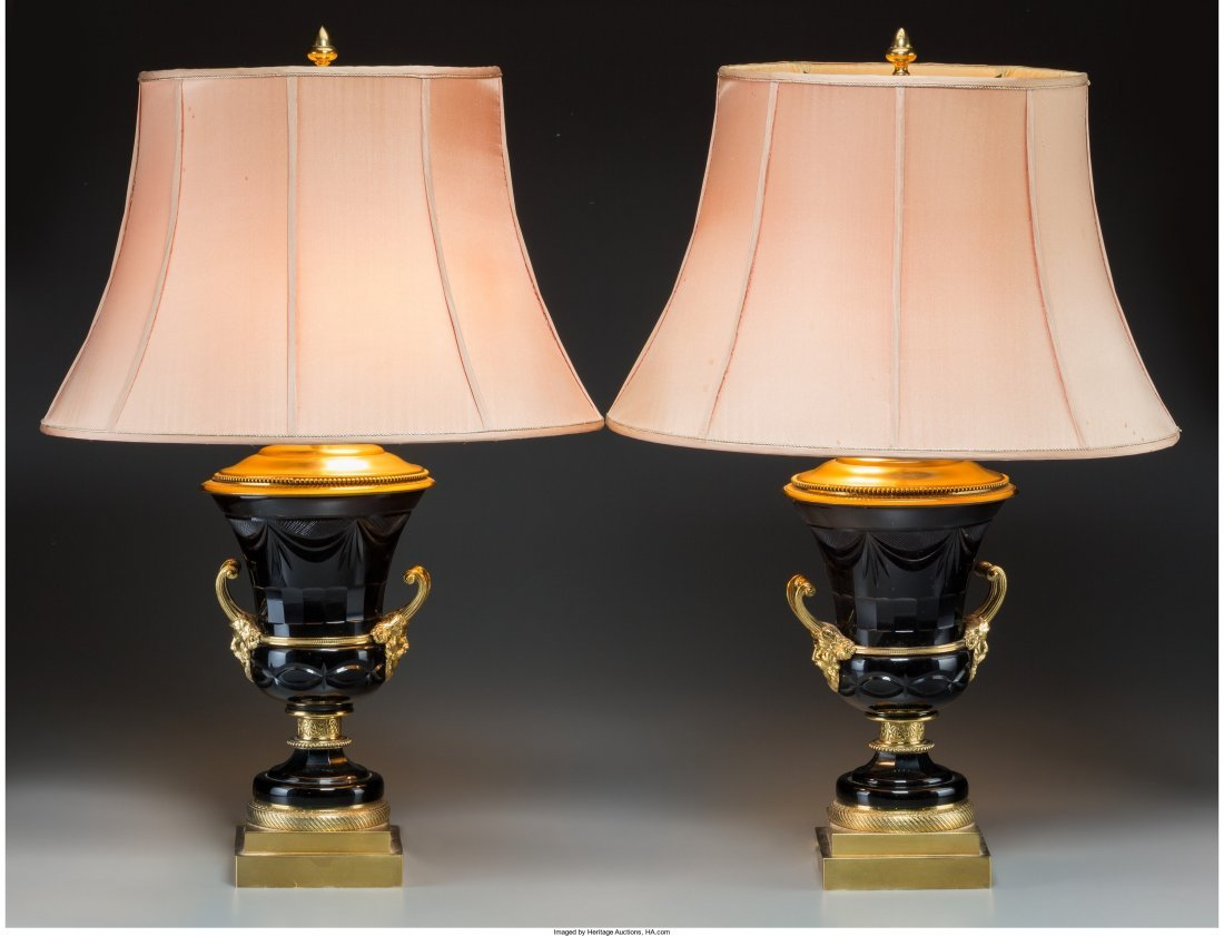 61018: A Pair of French Empire-Style Gilt Bronze and Am