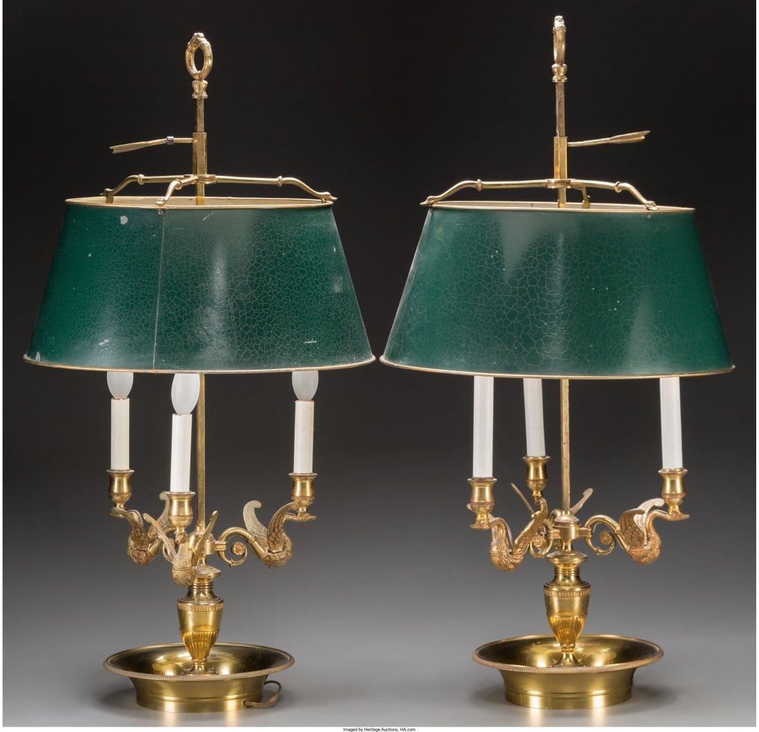 61019: A Pair of Louis XVI-Style Gilt Bronze Three-Ligh