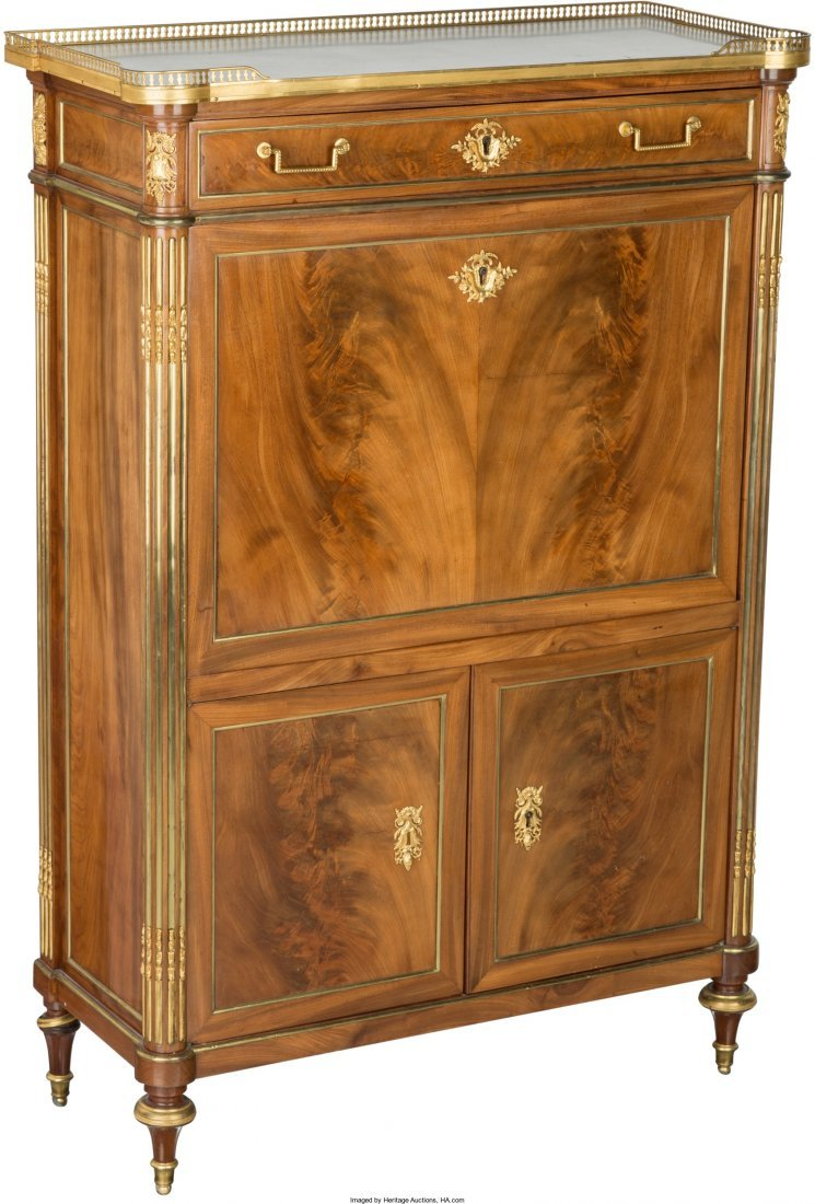 61020: A Charles X-Style Mahogany and Gilt Bronze-Mount