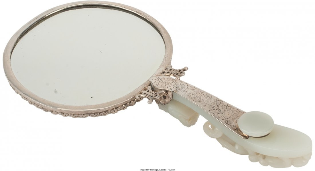 61396: A Chinese Jade-Mounted Hand Mirror 10 h x 5-1/4
