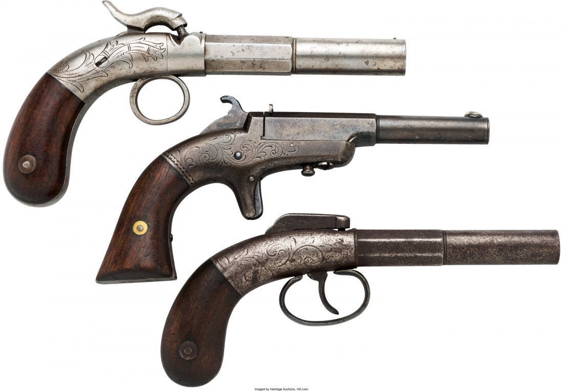 40023: Lot of Three Bacon Single Shot Pistols.  Compris
