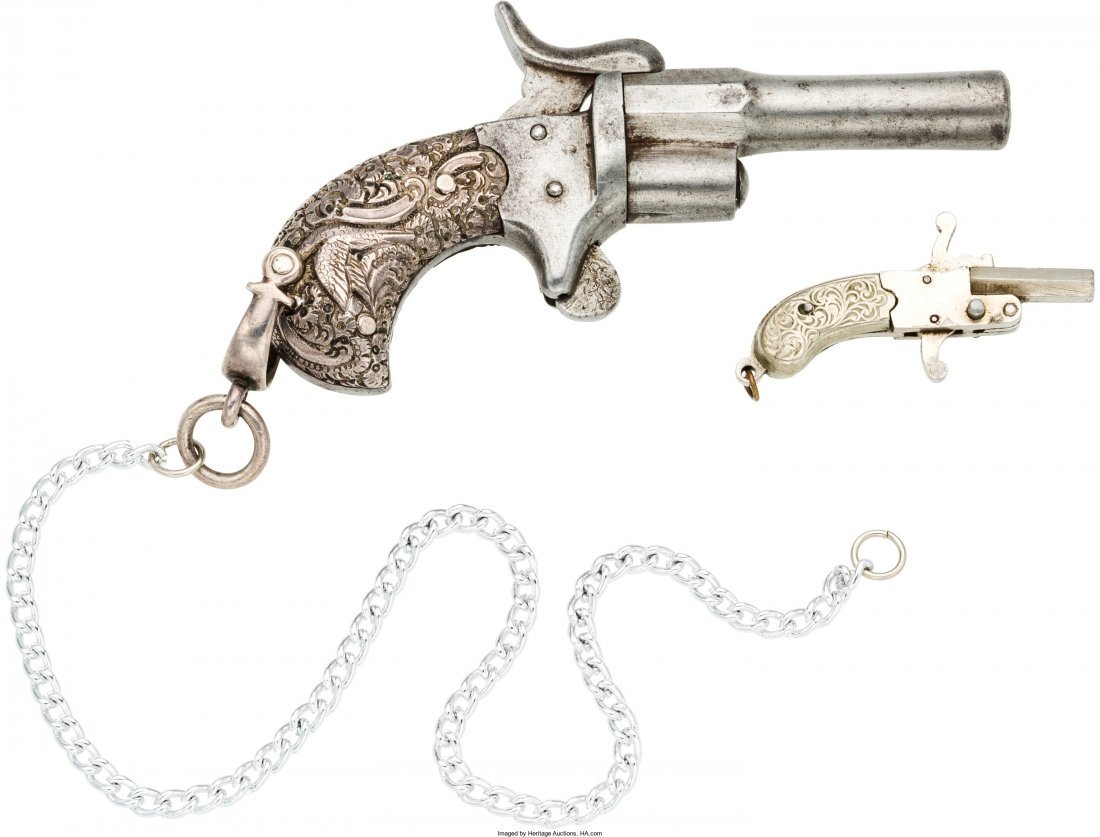 40024: Lot of Two Miniature Watch Fob Pistols.  Compris