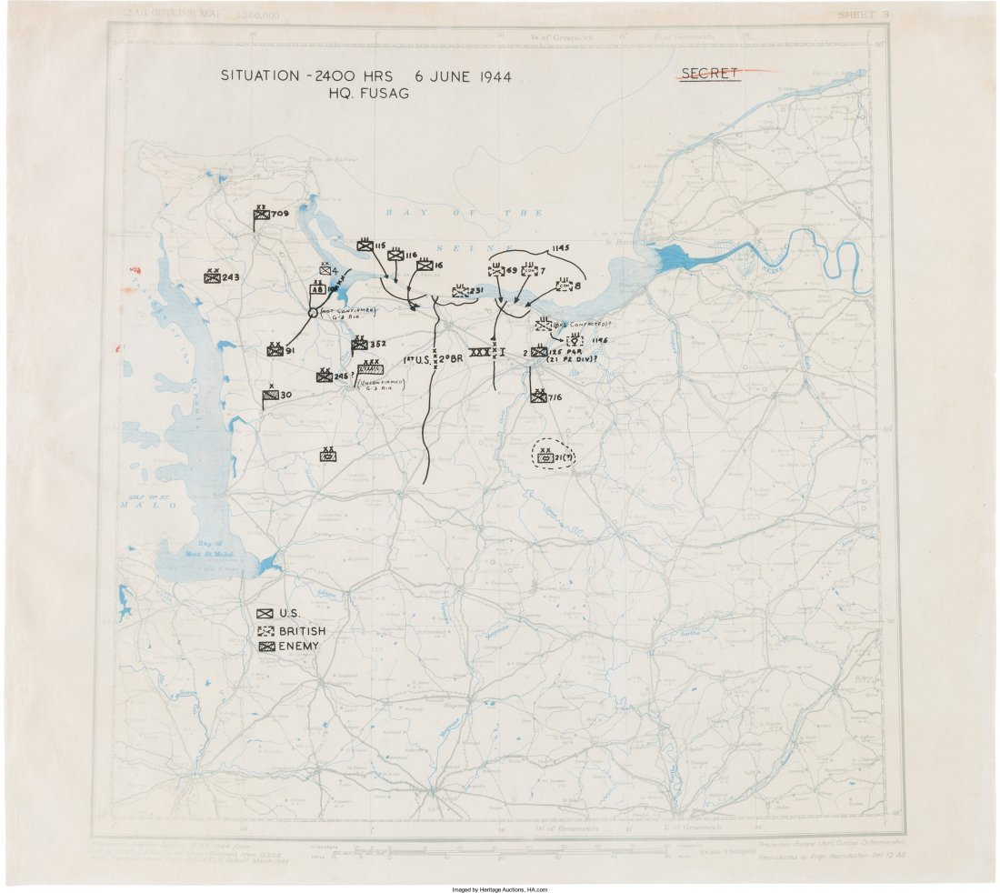 40227: General Omar Bradley's D-Day Map for Operations