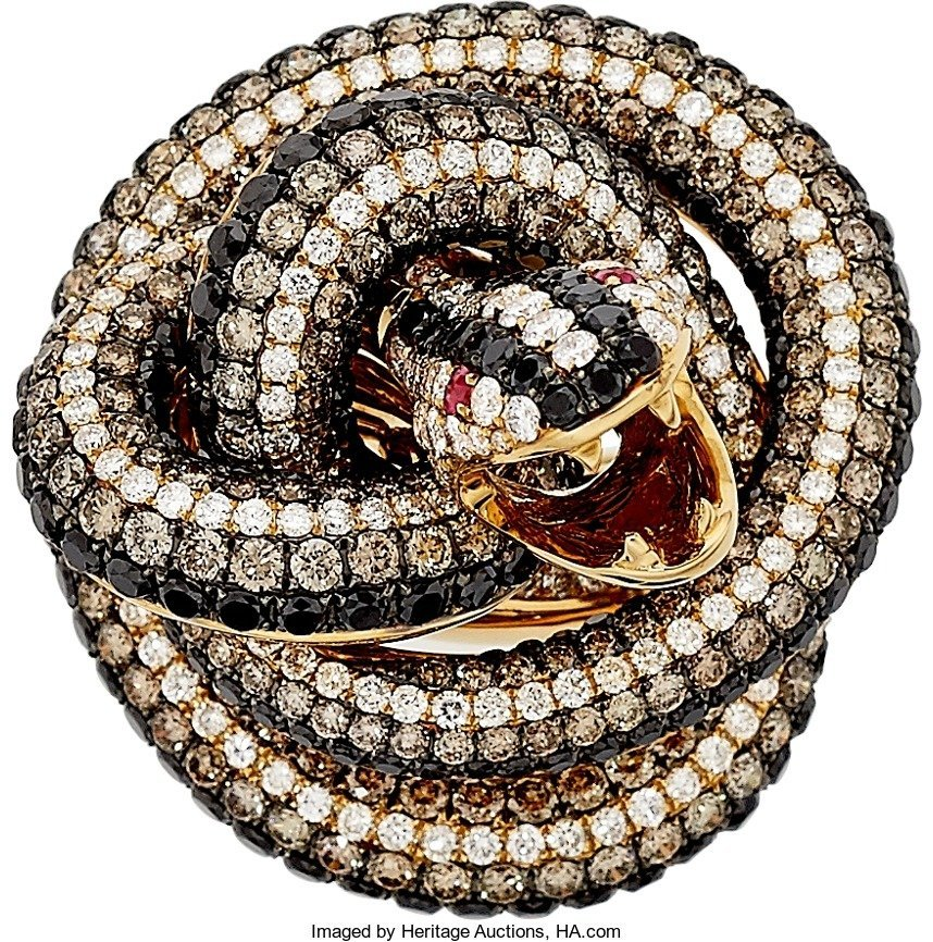 55006: Colored Diamond, Diamond, Ruby, Gold Ring  The r