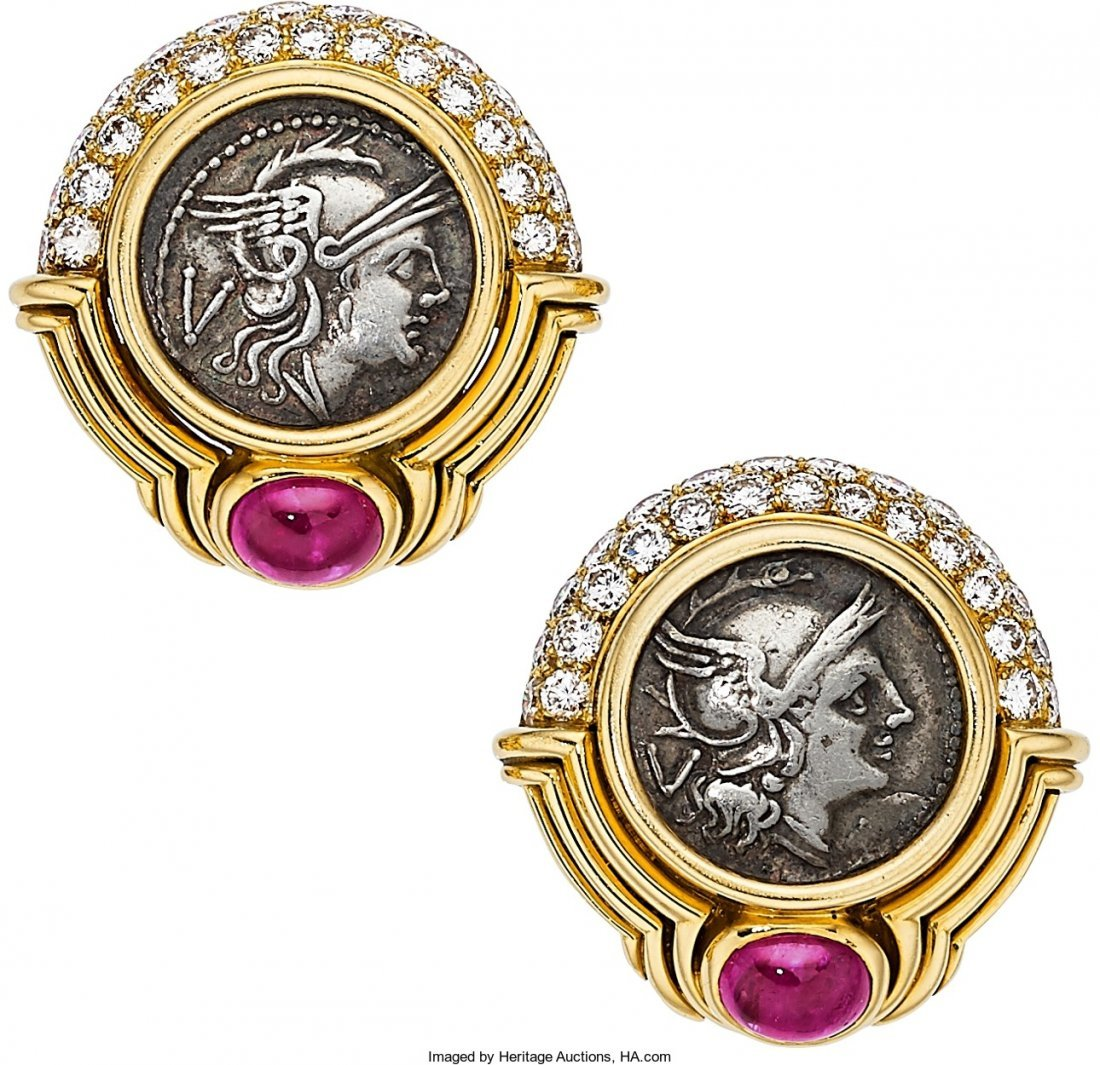 55010: Ancient Coin, Diamond, Ruby, Gold Earrings, Bvlg