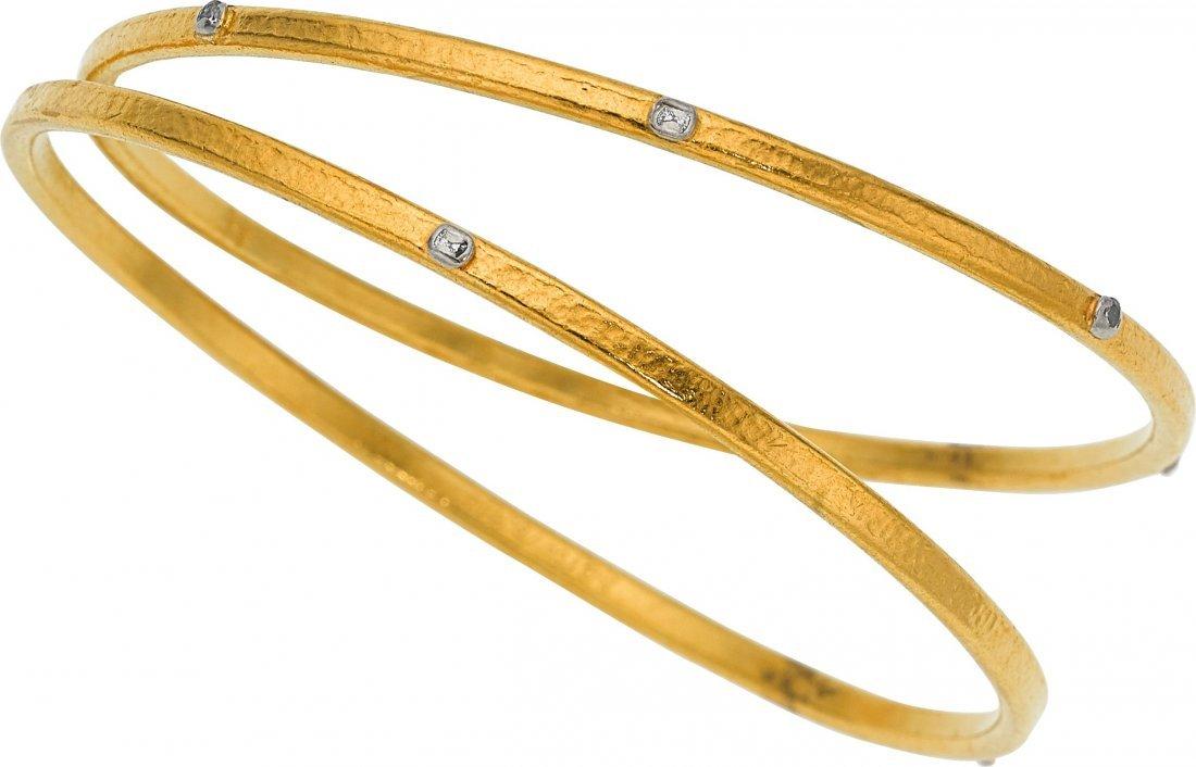 55014: Diamond, Gold Bracelets, Gurhan  The bracelets f