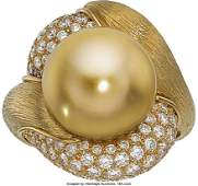 55210: South Sea Cultured Pearl, Diamond, Gold Ring, He