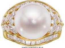 55217: South Sea Cultured Pearl, Diamond, Gold Ring T
