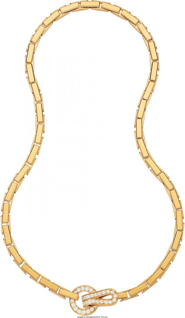 55023: Diamond, Gold Necklace, Cartier  The Agrafe neck
