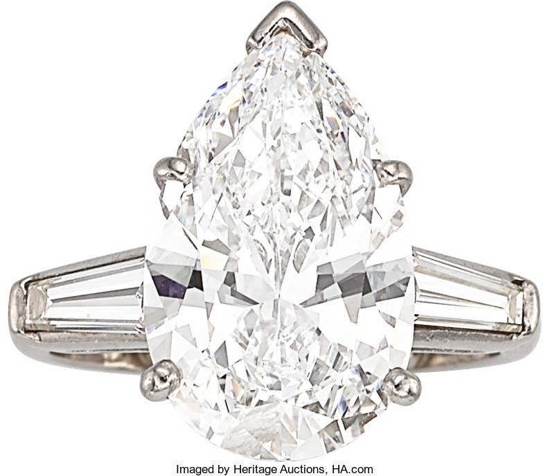 55382: Diamond, Platinum Ring  The ring features a pear